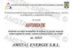 Autorizatie ANRE gaze EDIB Amstal Energie
